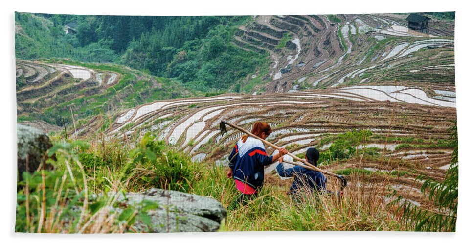 Terrace Hand Towel featuring the photograph Longji Terraced Fields Scenery by Carl Ning
