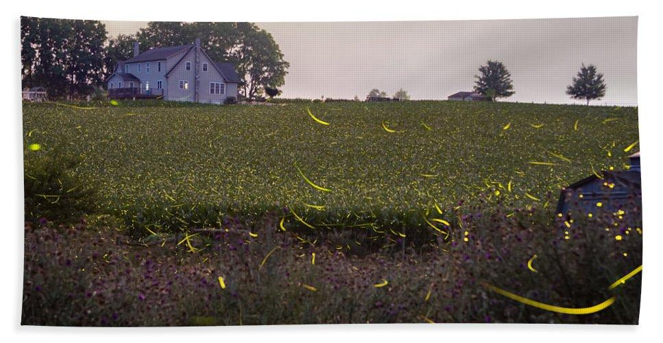 Fireflies Bath Sheet featuring the photograph 1300 - Fireflies And The House On Hillside by Seth Dochter