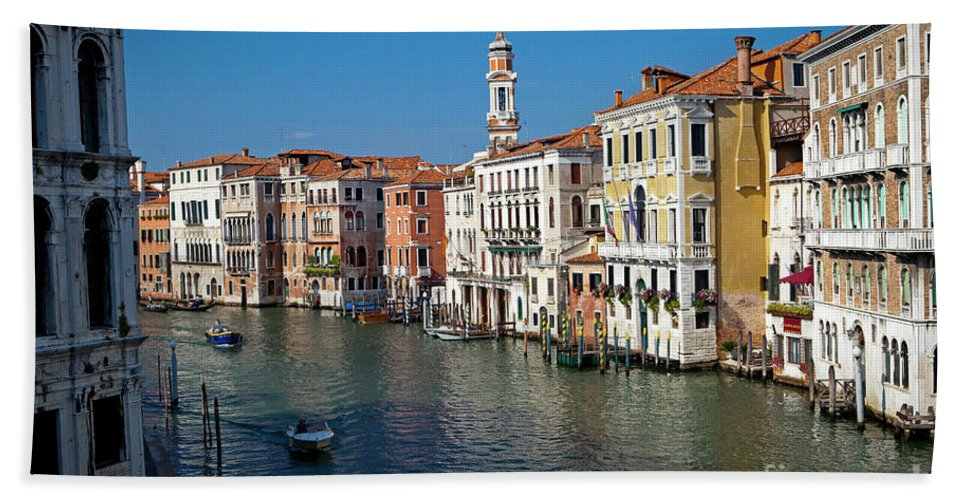 Venice Hand Towel featuring the photograph 1399 Venice Grand Canal by Steve Sturgill