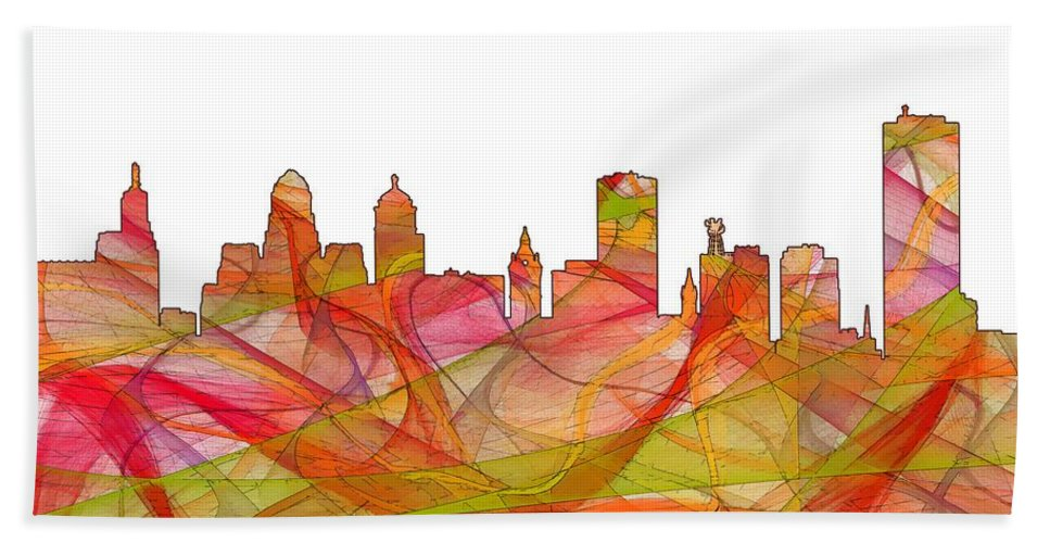 Buffalo New York Skylineskyline Hand Towel featuring the digital art Buffalo New York Skyline by Marlene Watson
