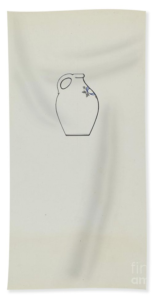 Hand Towel featuring the drawing Jug by Yolande Delasser