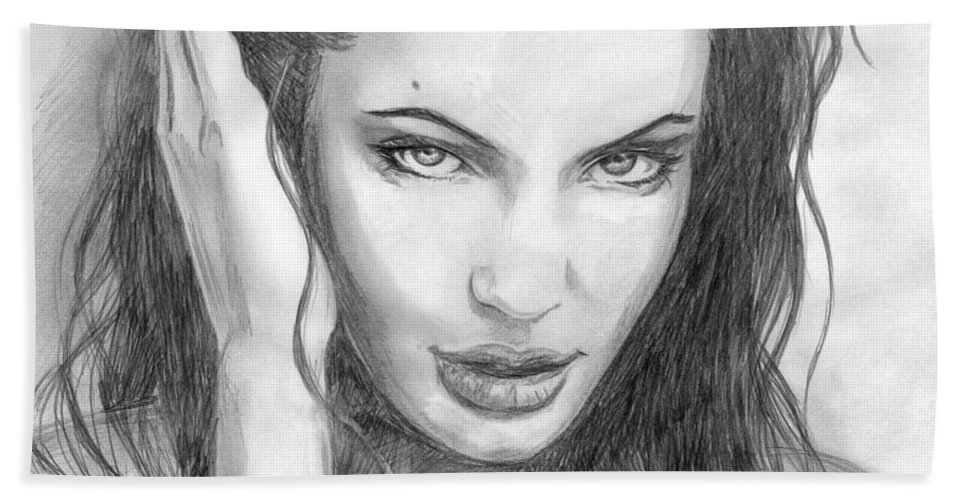 Angelina Jolie Hand Towel featuring the drawing 14 by Kristopher VonKaufman