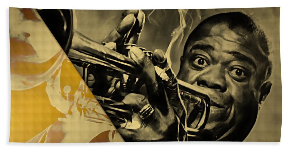 Louis Armstrong Bath Sheet featuring the mixed media Louis Armstrong Collection by Marvin Blaine