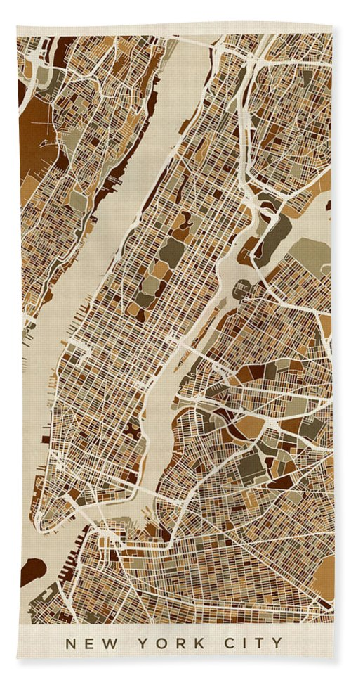 New York Hand Towel featuring the digital art New York City Street Map by Michael Tompsett