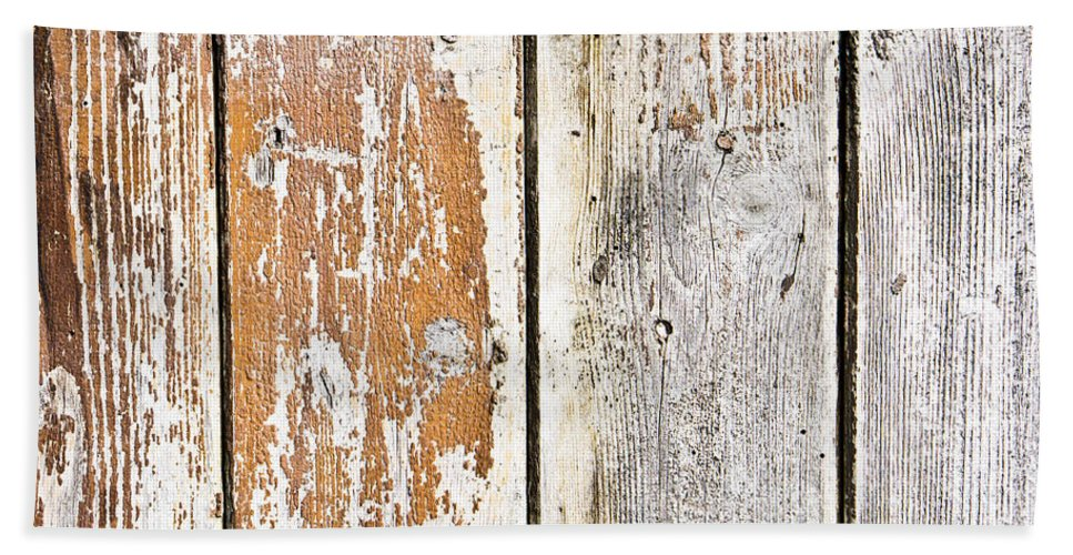Abstract Bath Sheet featuring the photograph Weathered Wood by Tom Gowanlock