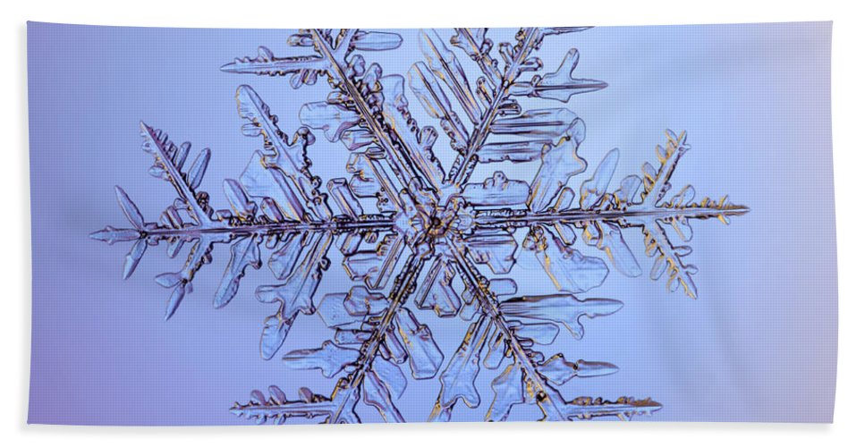 Snow Hand Towel featuring the photograph Snowflake by Ted Kinsman