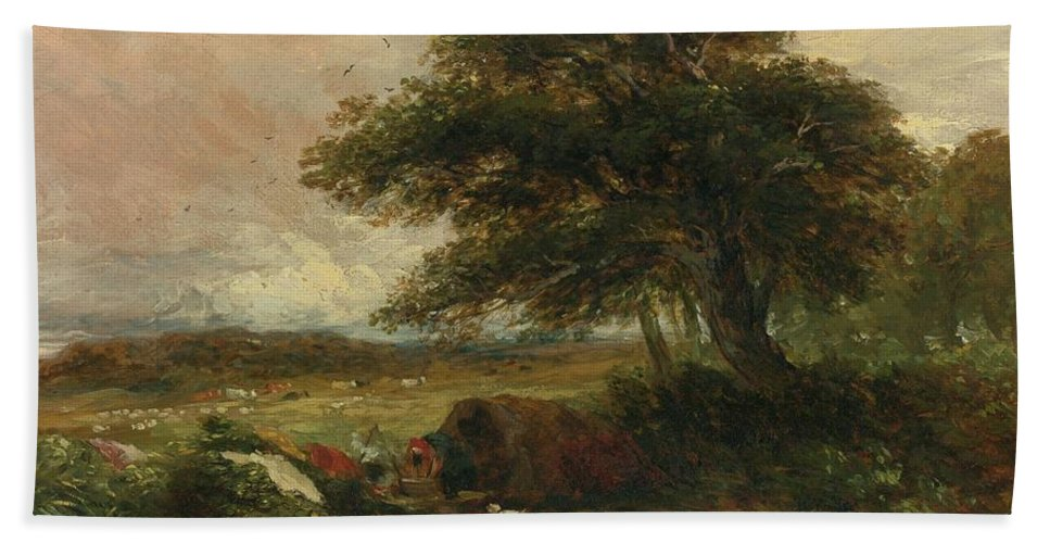 David Cox R.w.s. Birmingham Landscape With A Gypsy Tent Bath Sheet featuring the painting Landscape by MotionAge Designs