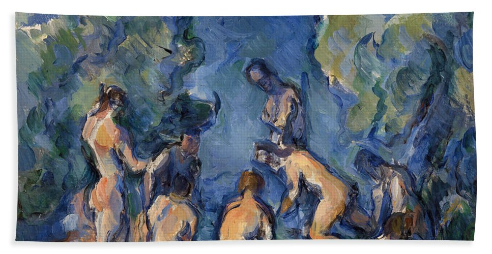 Bathers Bath Sheet featuring the painting Bathers by Paul Cezanne