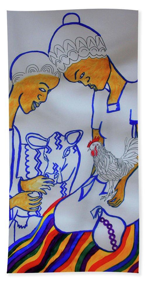 Jesus Bath Sheet featuring the painting Kintu And Nambi A Ugandan Folktale by Gloria Ssali