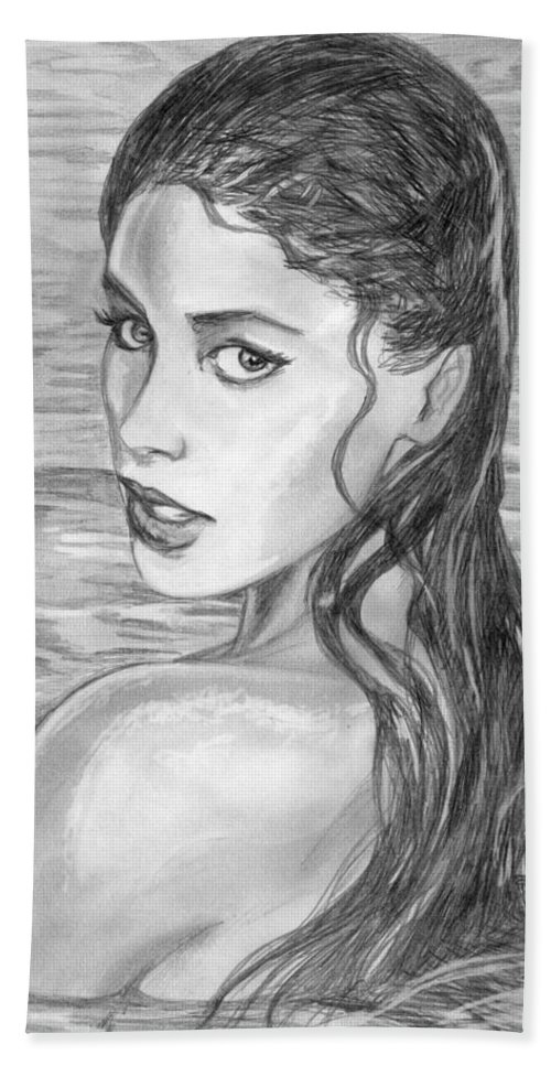 Soleil Moon Frye Hand Towel featuring the drawing 15 by Kristopher VonKaufman