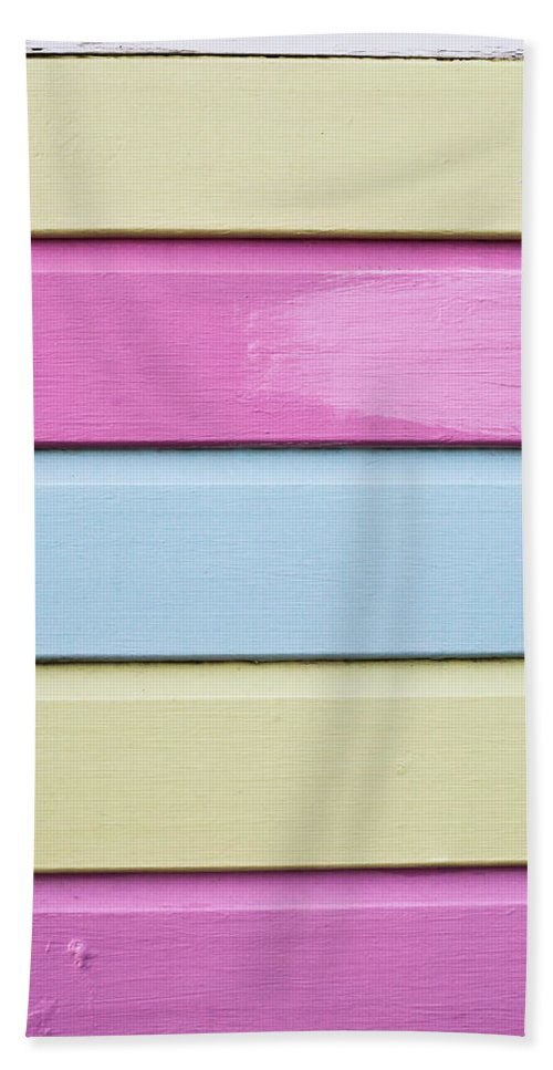 Abstract Bath Sheet featuring the photograph Wooden Panels by Tom Gowanlock