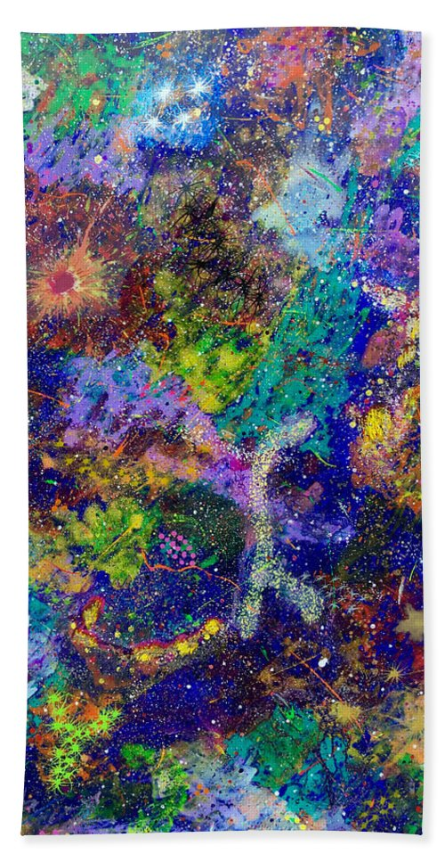Abstract Bath Towel featuring the painting 16-6 Lambda Sky by Patrick OLeary