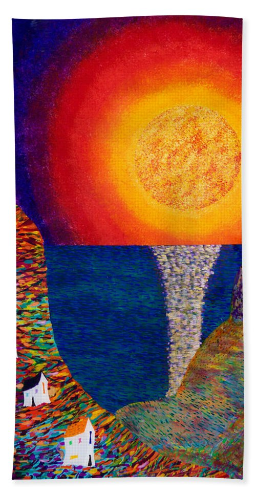 Abstract Hand Towel featuring the painting 16-7 Village Sun by Patrick OLeary