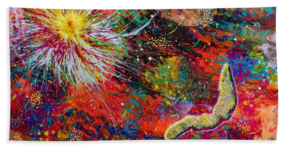 Abstract Hand Towel featuring the painting 16-9 Red Star Burst by Patrick OLeary