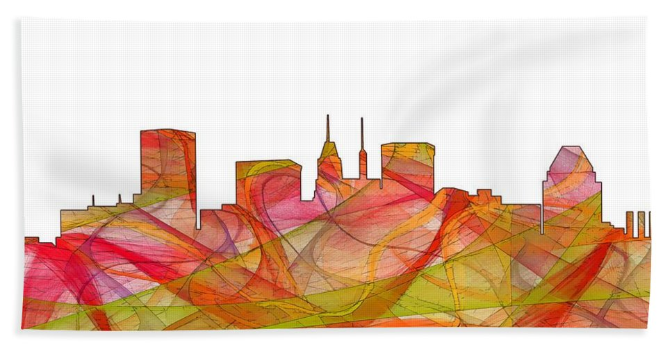 Baltimore Maryland Skylineskyline Hand Towel featuring the digital art Baltimore Maryland Skyline by Marlene Watson