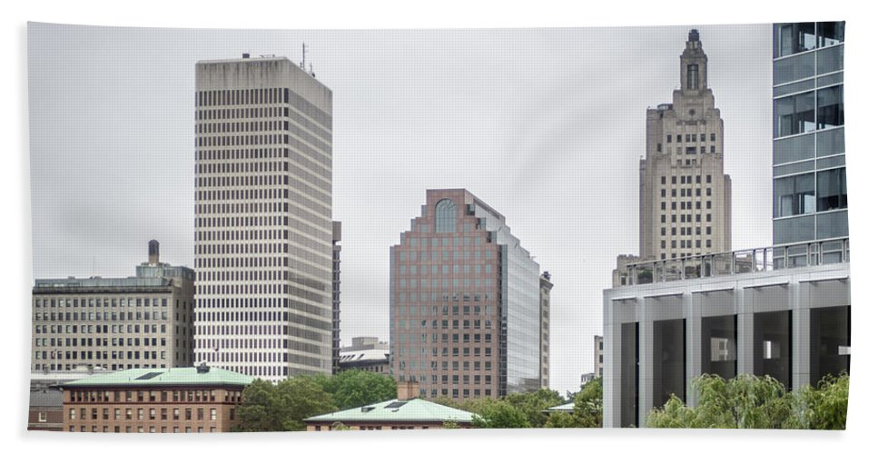 Providence Bath Sheet featuring the photograph Providence Rhode Island City Skyline In October 2017 by Alex Grichenko