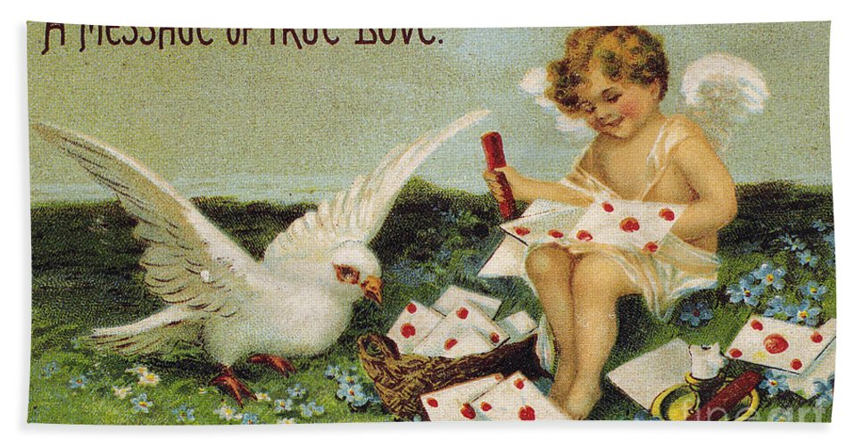 1910 Hand Towel featuring the photograph Valentines Day Card by Granger