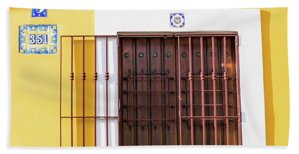 Urban Hand Towel featuring the photograph Wooden Door In Old San Juan, Puerto Rico by Jasmin Burton
