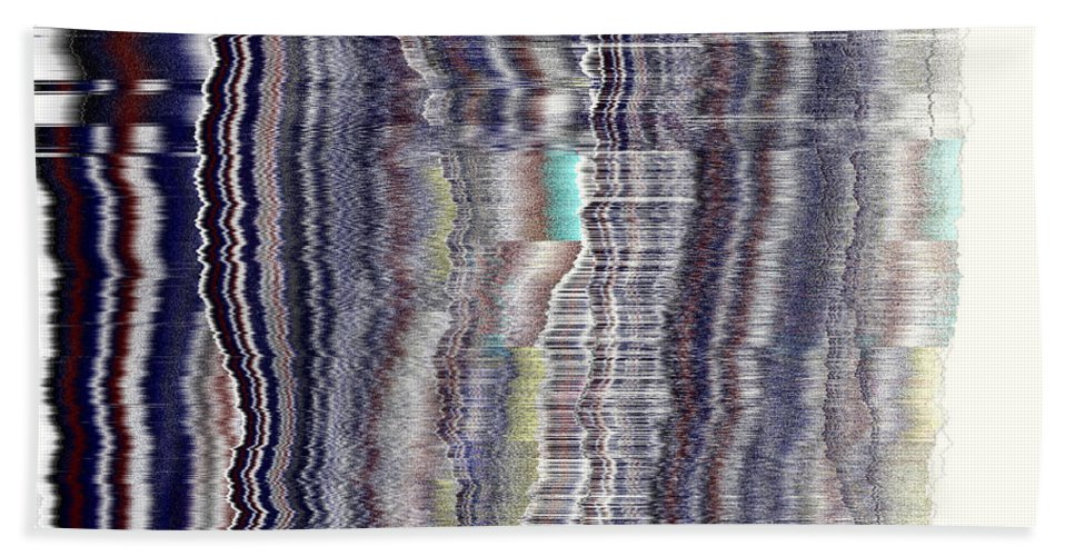 Rithmart Abstract Fade Fading Lines Organic Random Computer Digital Shapes Fading Layers Lines Reflected Hand Towel featuring the digital art 16x9.165-#rithmart by Gareth Lewis