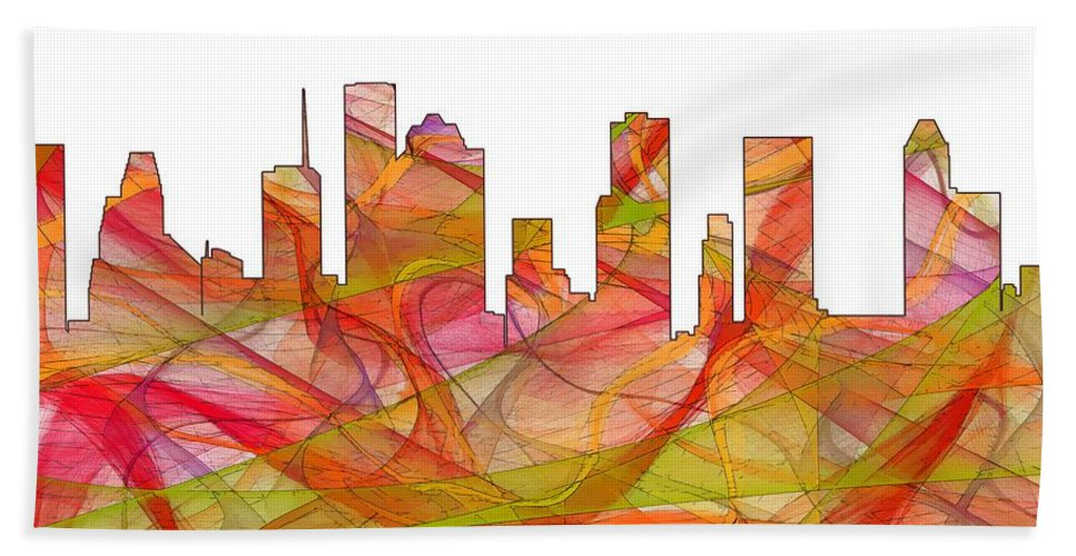 Houston Texas Skylineskyline Hand Towel featuring the digital art Houston Texas Skyline by Marlene Watson
