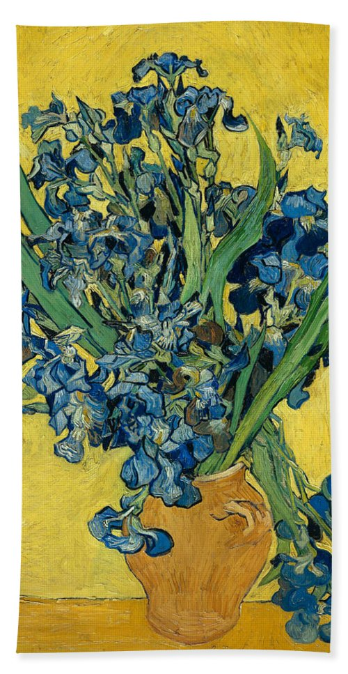 Vincent Van Gogh Hand Towel featuring the painting Irises by Vincent van Gogh