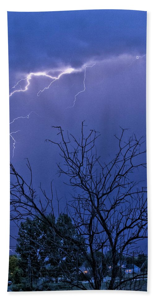 Lightning Hand Towel featuring the photograph 17 Street To Hygiene Lightning Strike. by James BO Insogna