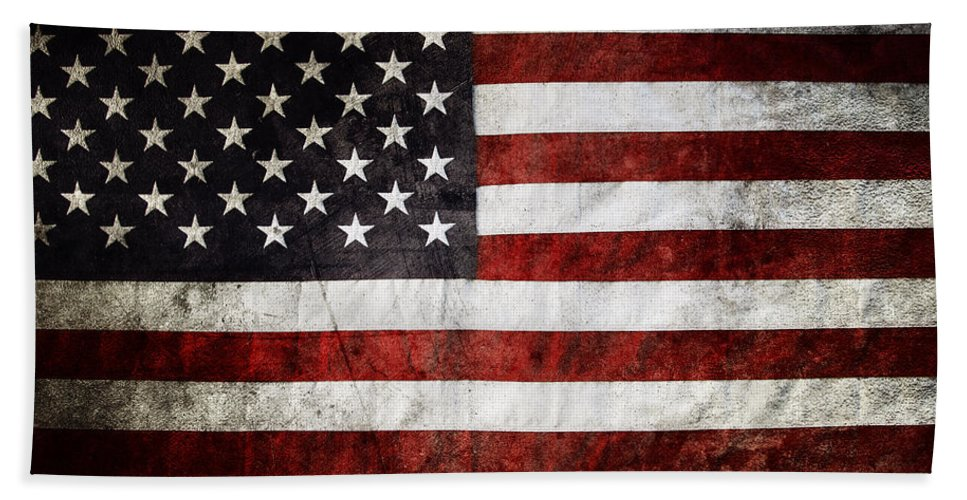 American Flag Bath Sheet featuring the photograph American Flag by Les Cunliffe