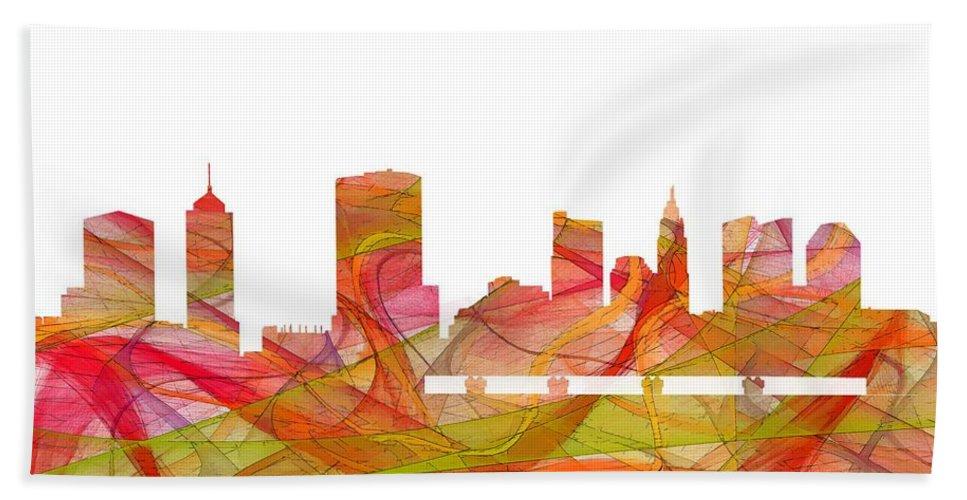 Columbus Ohio Skyline Hand Towel featuring the digital art Columbus Ohio Skyline by Marlene Watson