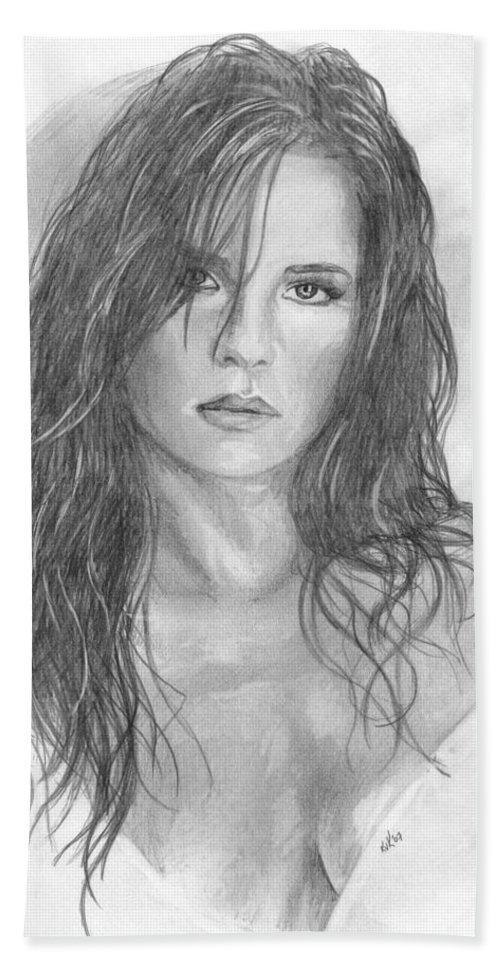 Kelly Monaco Hand Towel featuring the drawing 18 by Kristopher VonKaufman