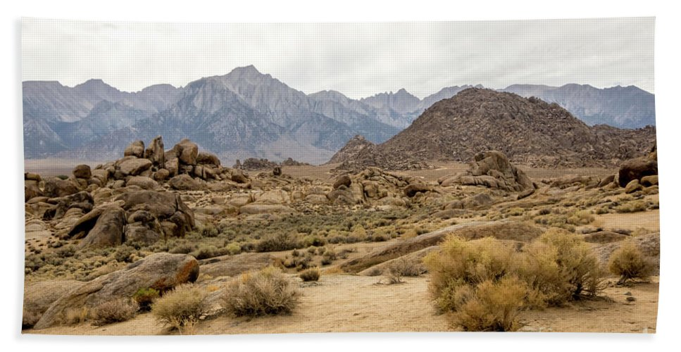 395 Hand Towel featuring the photograph Rocks, Mountains And Sky At Alabama Hills, The Mobius Arch Loop by Eiko Tsuchiya
