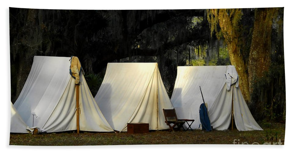 Army Tents Hand Towel featuring the photograph 1800s Army Tents by David Lee Thompson
