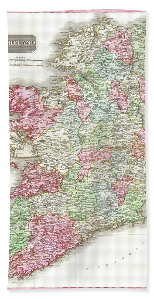 1818 Hand Towel featuring the digital art 1818 Pinkerton Map Of Ireland by Bill Cannon