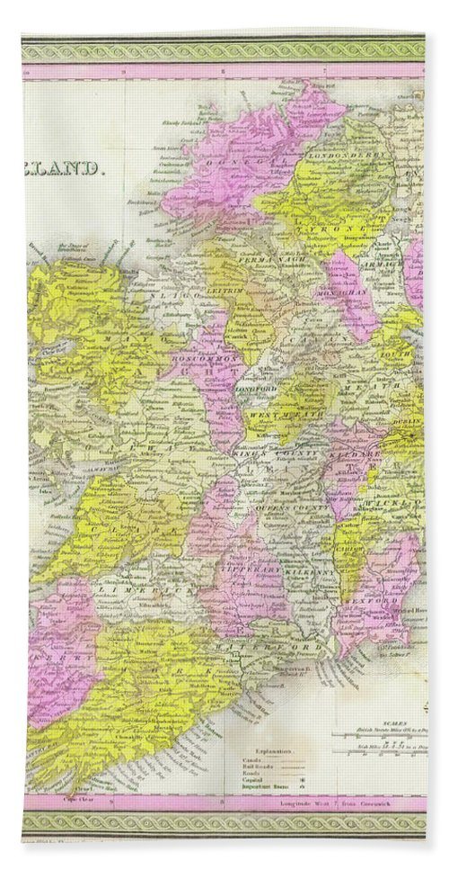 1850 Hand Towel featuring the digital art 1850 Vintage Map Of Ireland by Bill Cannon