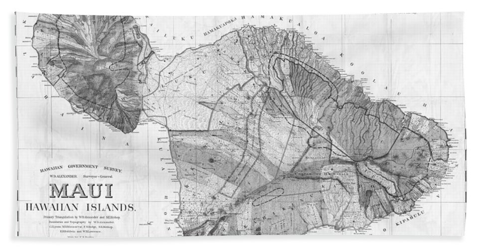 1855 Government Survey Map Of Maui Hawaii Updated In 1903 Black And