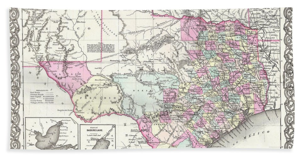 Watercolor Hand Towel featuring the painting 1855 Texas Map by Gary Grayson