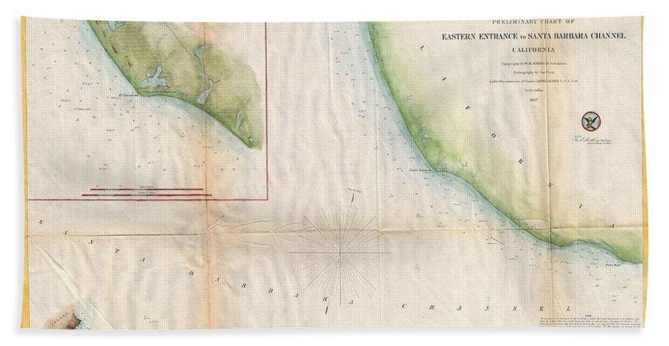 1857 U.s. Coast Survey Map Of The Eastern Hand Towel featuring the photograph 1857 Coast Survey Map Of The Eastern Entrance To Santa Barbara Channel by Paul Fearn