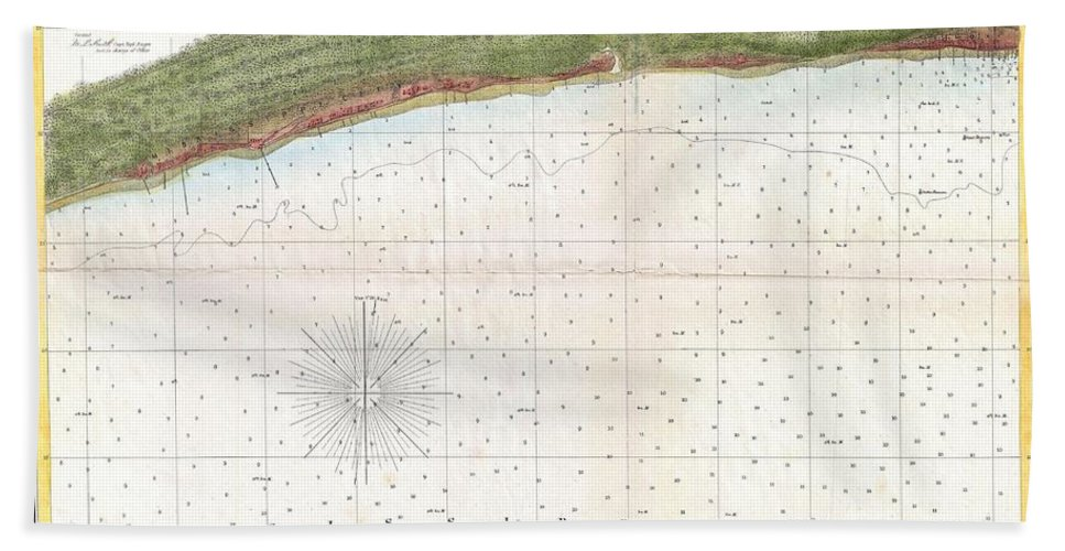 1857 U.s. Coast Survey Map Or Chart Of Mississippi City Harbor Hand Towel featuring the photograph 1857 U.s. Coast Survey Map Or Chart Of Mississippi City Harbor, Mississippi by Paul Fearn