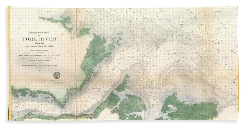 1857 U.s. Coast Survey Map Or Chart Of The Entrance To The York River Hand Towel featuring the photograph 1857 U.s. Coast Survey Map Or Chart Of The Entrance To The York River, Virginia by Paul Fearn