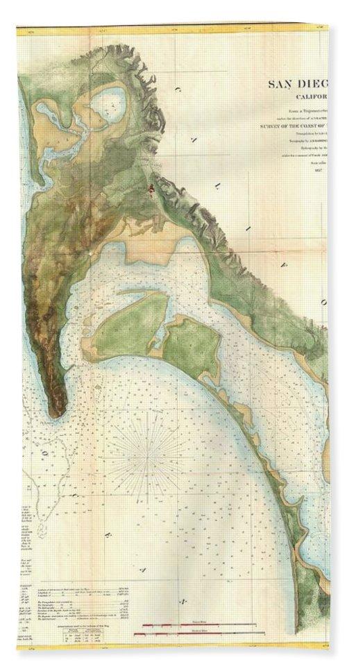 1857 U.s.c.s. Map Of San Diego Bay Hand Towel featuring the photograph 1857 U.s.c.s. Map Of San Diego Bay, California by Paul Fearn