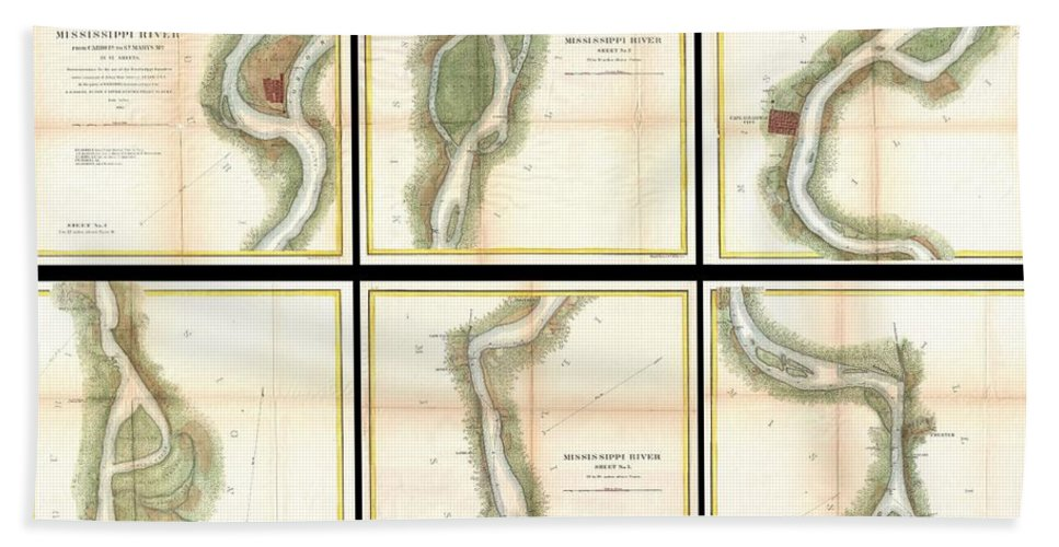 1865 U.s. Coast Survey Map Of The Mississippi River From Cairo Bath Sheet featuring the photograph 1865 Us Coast Survey Map Of The Mississippi River From Cairo Il To St Marys Mo by Paul Fearn