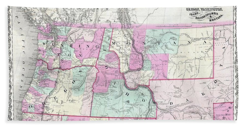 1866 Colton Map Of Oregon Bath Sheet featuring the photograph 1866 Colton Map Of Oregon Washington Idaho And Montana W Wyoming by Paul Fearn