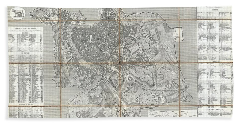 1866 Fornari Pocket Map Or Case Map Of Rome Italy Bath Sheet featuring the photograph 1866 Fornari Pocket Map Or Case Map Of Rome Italy by Paul Fearn