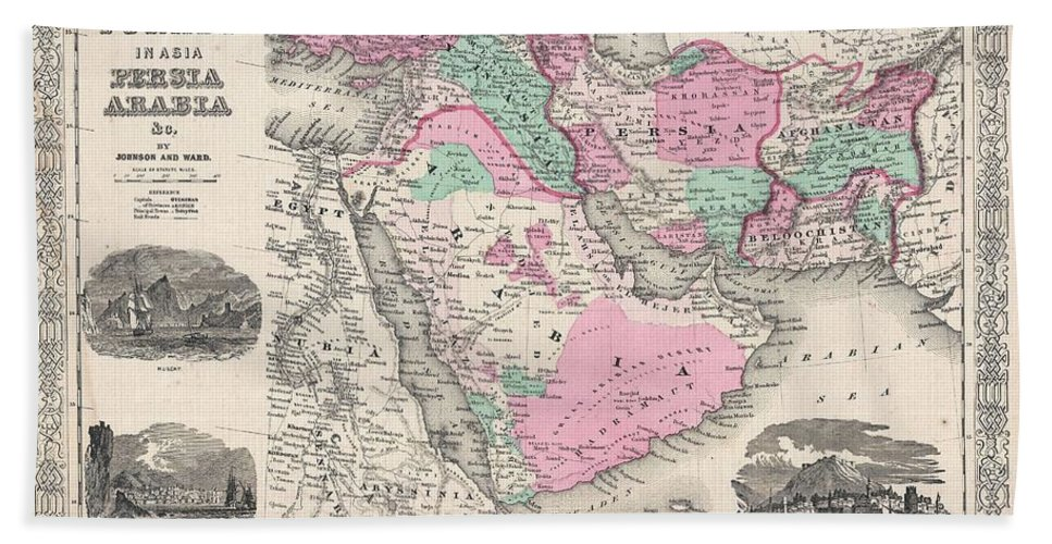 1866 Johnson Map Of Arabia Bath Sheet featuring the photograph 1866 Johnson Map Of Arabia Persia Turkey And Afghanistan Iraq by Paul Fearn