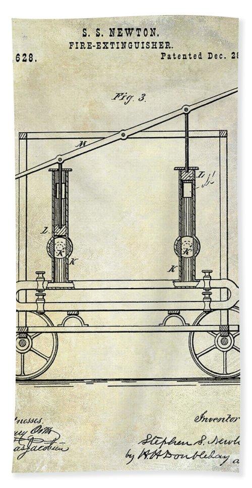 Fire Extinguisher Bath Sheet featuring the photograph 1875 Fire Extinguisher Patent by Jon Neidert