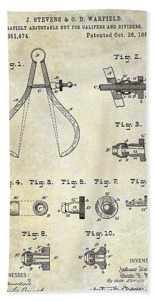 Compass Patent Bath Sheet featuring the photograph 1886 Caliper And Dividers Patent by Jon Neidert