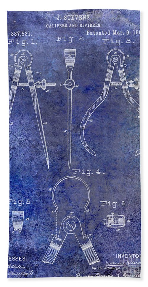 Compass Patent Bath Sheet featuring the photograph 1886 Calipers Patent Blue by Jon Neidert