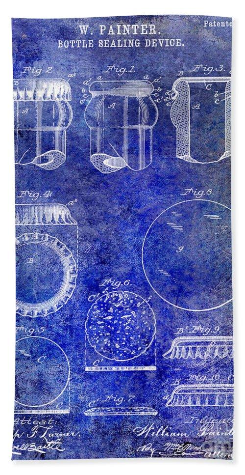 Beer Bath Sheet featuring the photograph 1892 Bottle Cap Patent Blue by Jon Neidert
