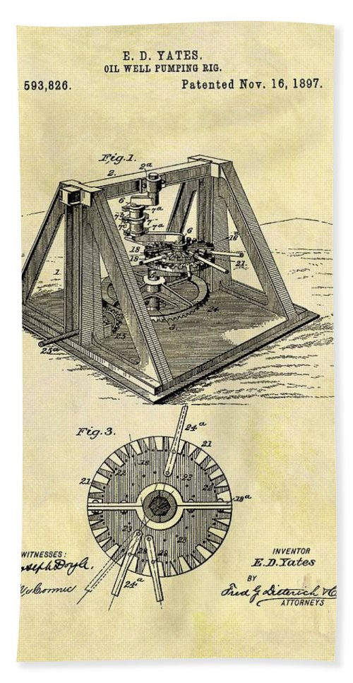 1897 Oil Rig Patent Hand Towel featuring the drawing 1897 Oil Rig Patent by Dan Sproul