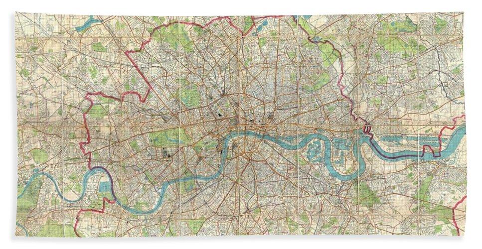 1899 Bartholomew Fire Brigade Map Of London Bath Sheet featuring the photograph 1899 Bartholomew Fire Brigade Map Of London England by Paul Fearn