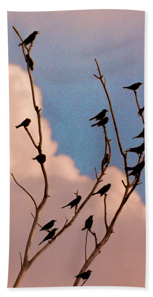 Birds Hand Towel featuring the photograph 19 Blackbirds by Steve Karol